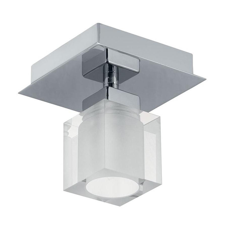 EGLO Bantry 5-in W Matte Nickel Frosted Glass Semi-Flush Mount Light