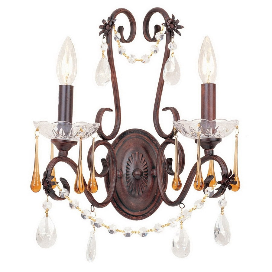 AF Lighting 14-in W Romanza 2-Light Rich Forged Sable Crystal Arm Wall Sconce