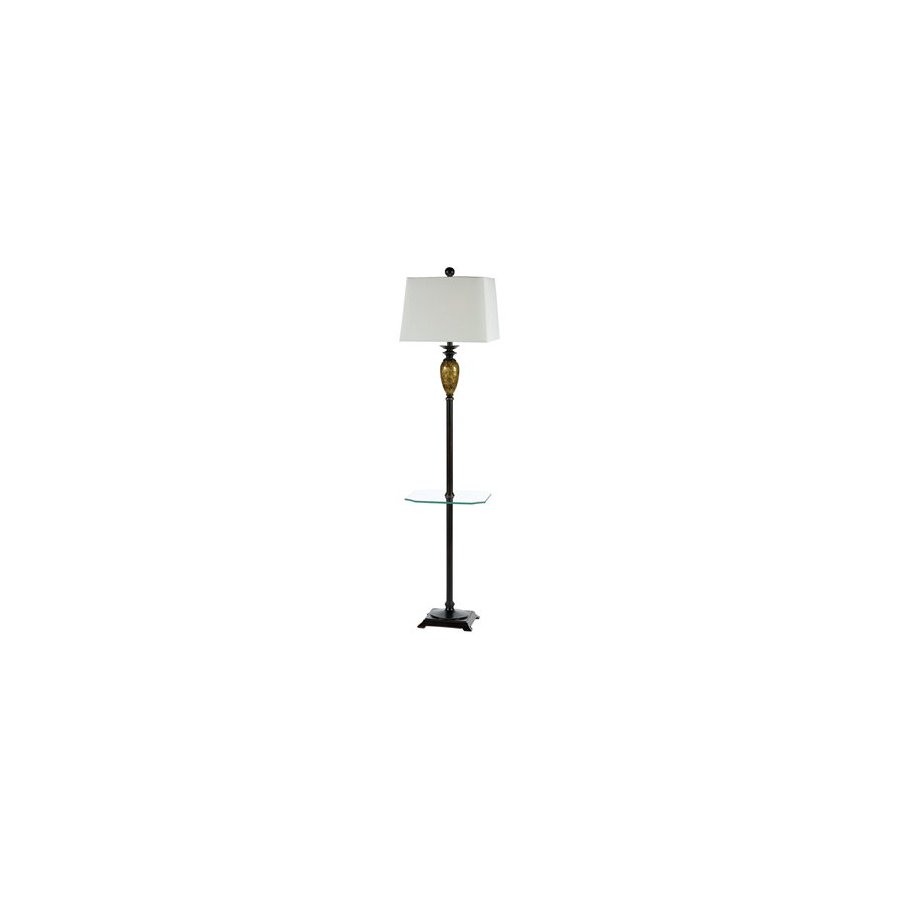 AF Lighting 67-in 3-Way Clear Floor Lamp with Fabric Shade