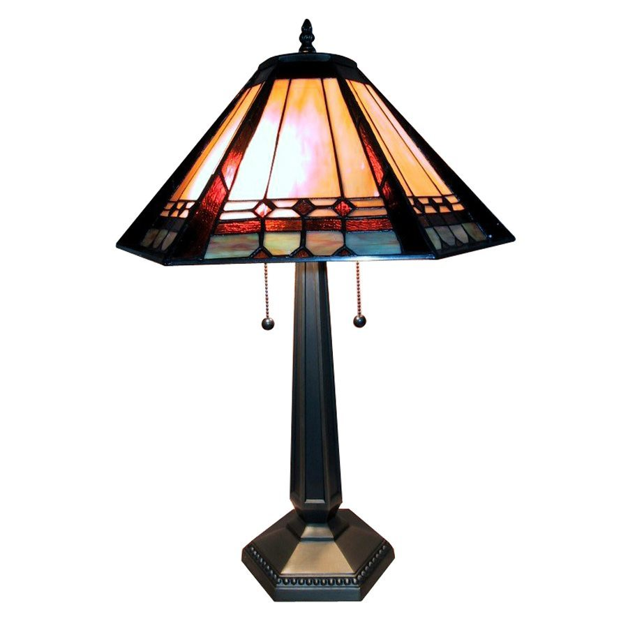 Warehouse of Tiffany 28-in Gold/Silver Tiffany-Style Table Lamp with Glass Shade