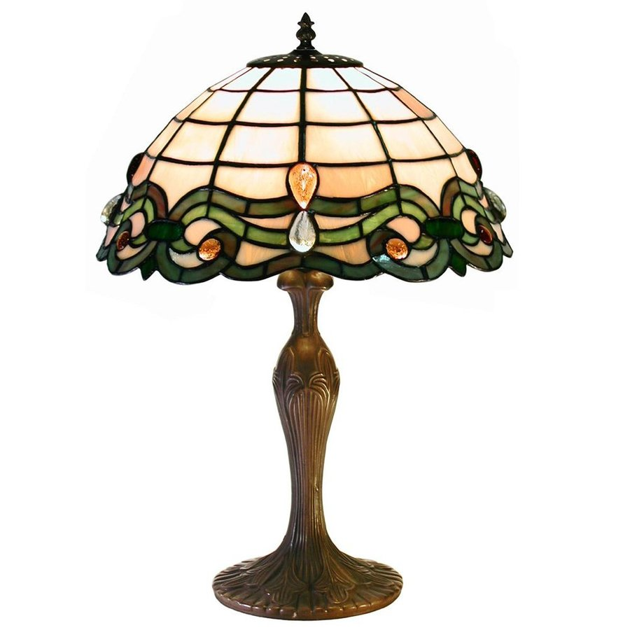 Warehouse of Tiffany Tiffany 19-in Bronze Tiffany-Style Table Lamp with Glass Shade