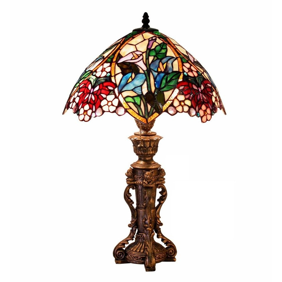 Warehouse of Tiffany 23-in Bronze Tiffany-Style Table Lamp with Glass Shade