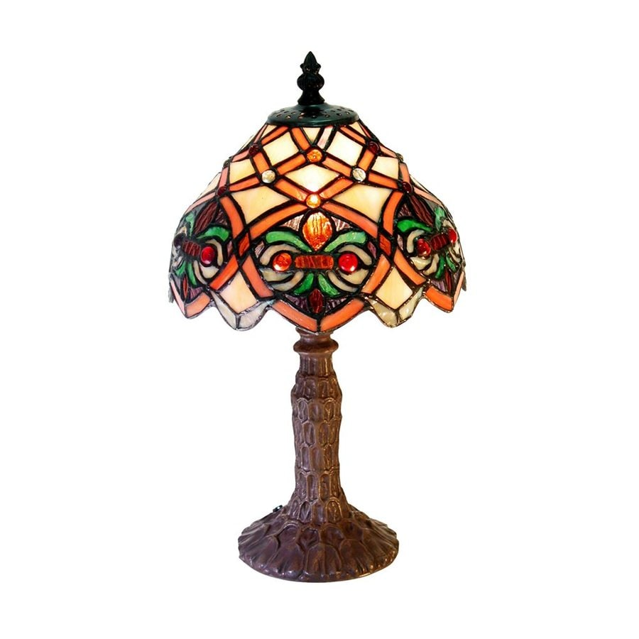 Warehouse of Tiffany 15-in Bronze Tiffany-Style Table Lamp with Glass Shade