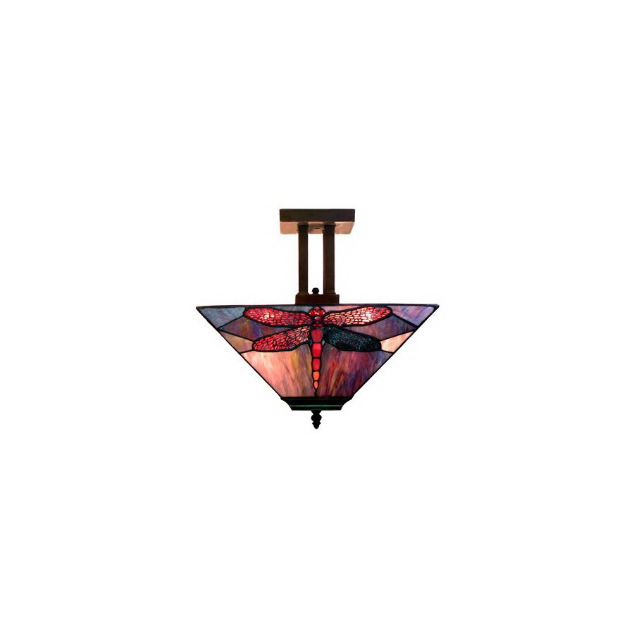 Warehouse of Tiffany 12-in W Tea-Stained Glass Tiffany-Style Semi-Flush Mount Light