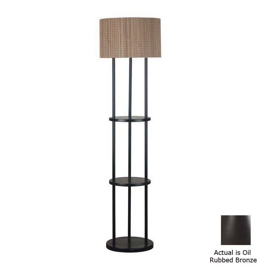 Shop kenroy home 60 1 2 in 3 way oil rubbed bronze floor for Floor lamp with shelves lowes