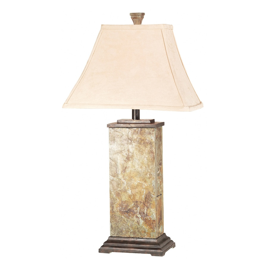 Kenroy Home Bennington 29-in 3-Way Natural Slate Table Lamp with Fabric Shade