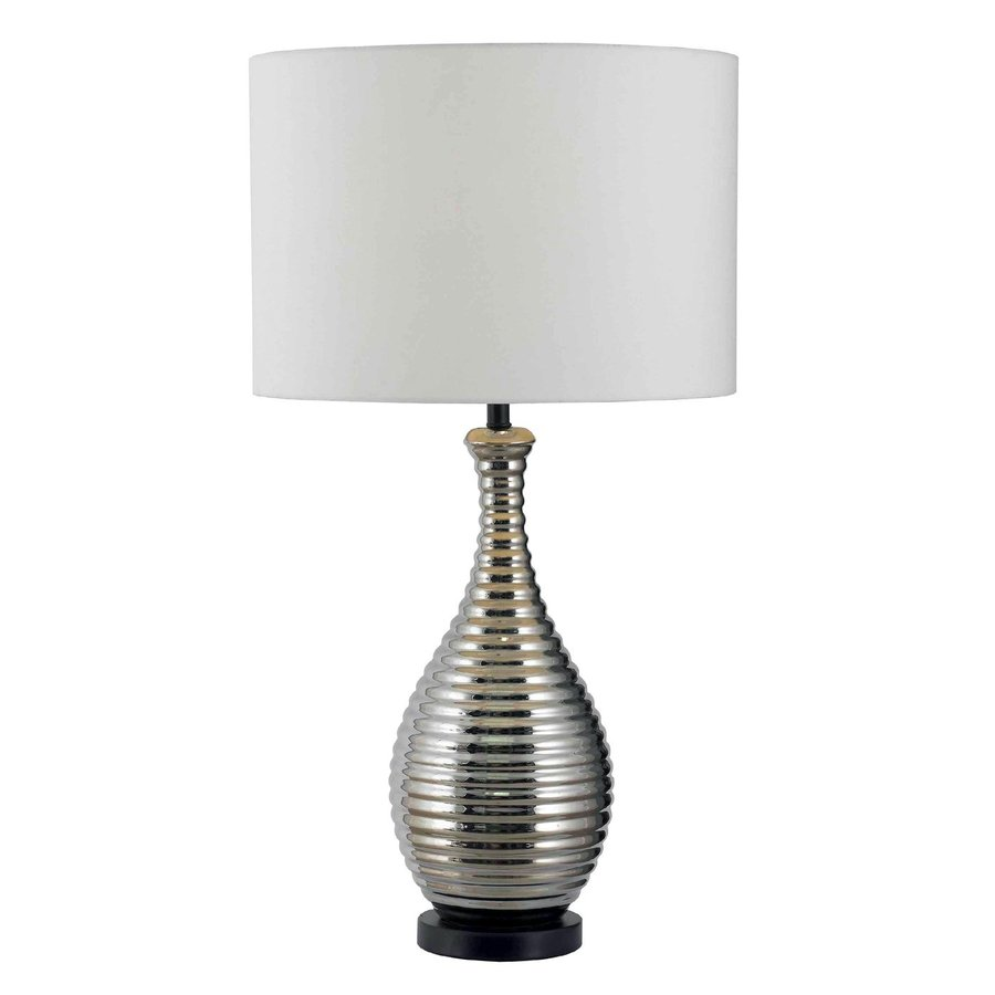 shop kenroy home cyclone 31 in 3 way chrome table lamp with fabric. Black Bedroom Furniture Sets. Home Design Ideas