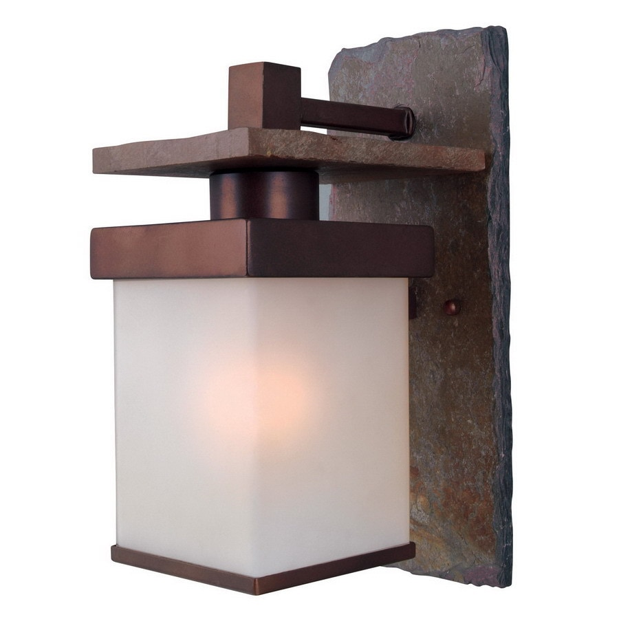 Kenroy Home Boulder 6-in W 1-Light Natural Slate and Copper Arm Hardwired Wall Sconce