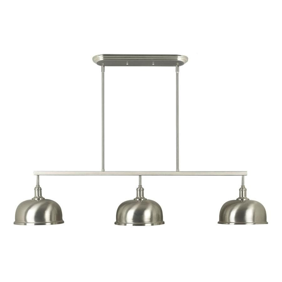 Kenroy Home Alice W 3-Light Brushed Steel Kitchen Island Light with Shade