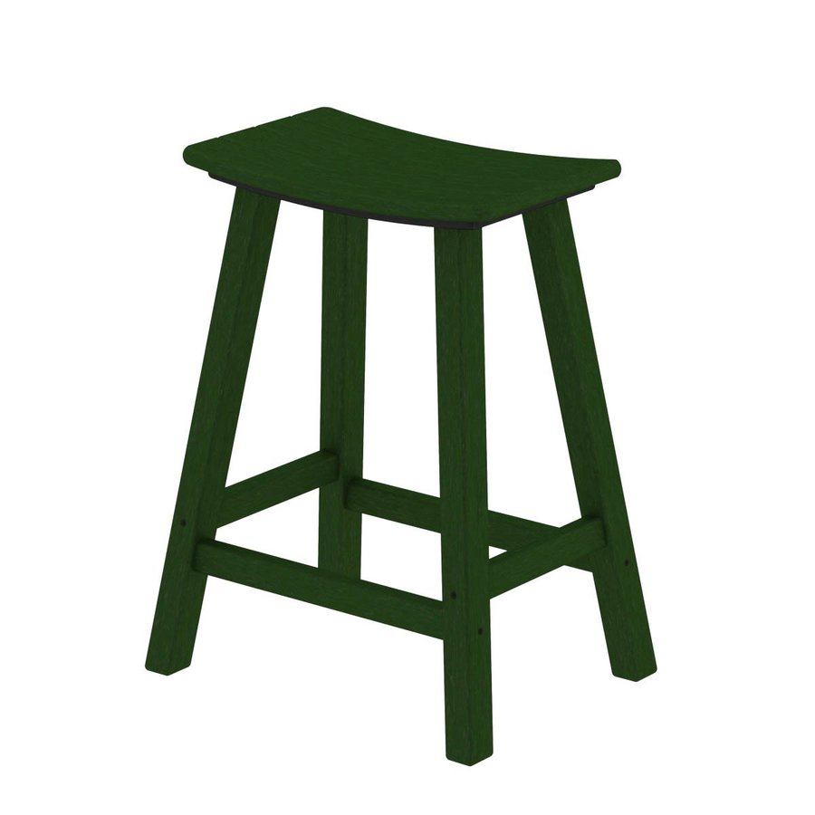POLYWOOD Green Plastic Patio Barstool Chair