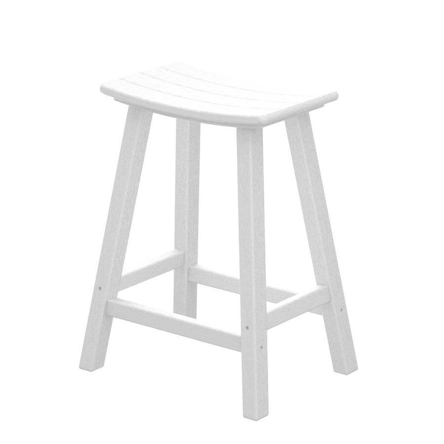 POLYWOOD White Plastic Patio Barstool Chair