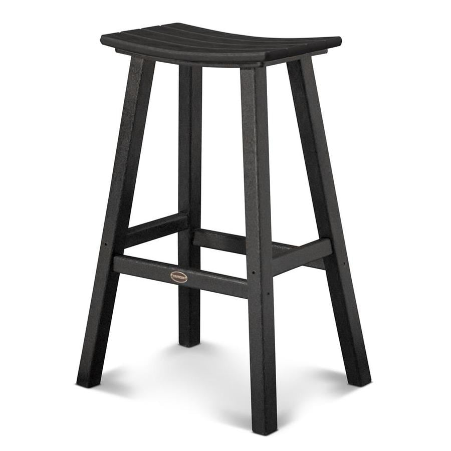 POLYWOOD Black Plastic Patio Barstool Chair