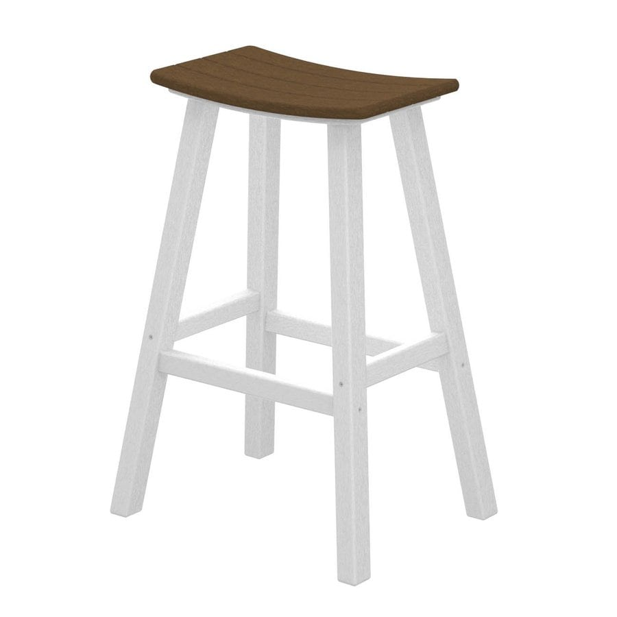 POLYWOOD Contempo Teak Plastic Patio Barstool Chair