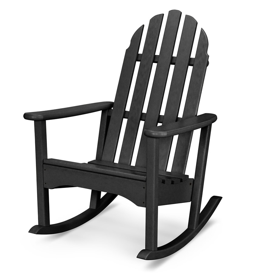 shop polywood classic adirondack black plastic rocking chair at. Black Bedroom Furniture Sets. Home Design Ideas