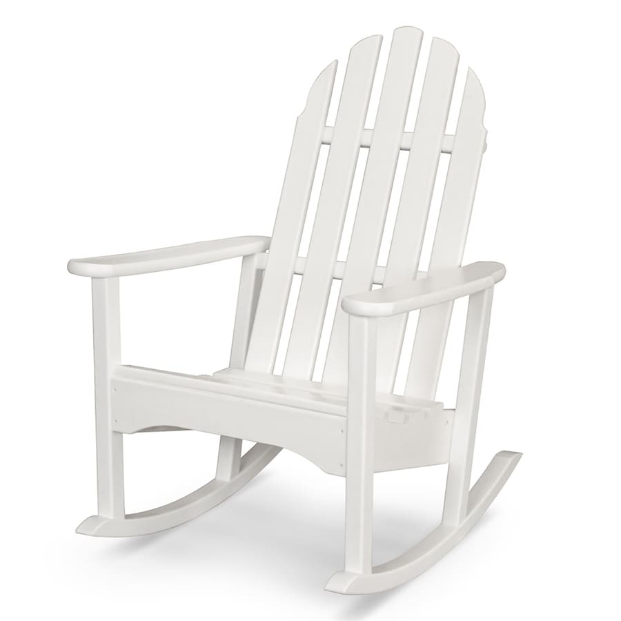 shop polywood classic adirondack white plastic rocking chair at. Black Bedroom Furniture Sets. Home Design Ideas