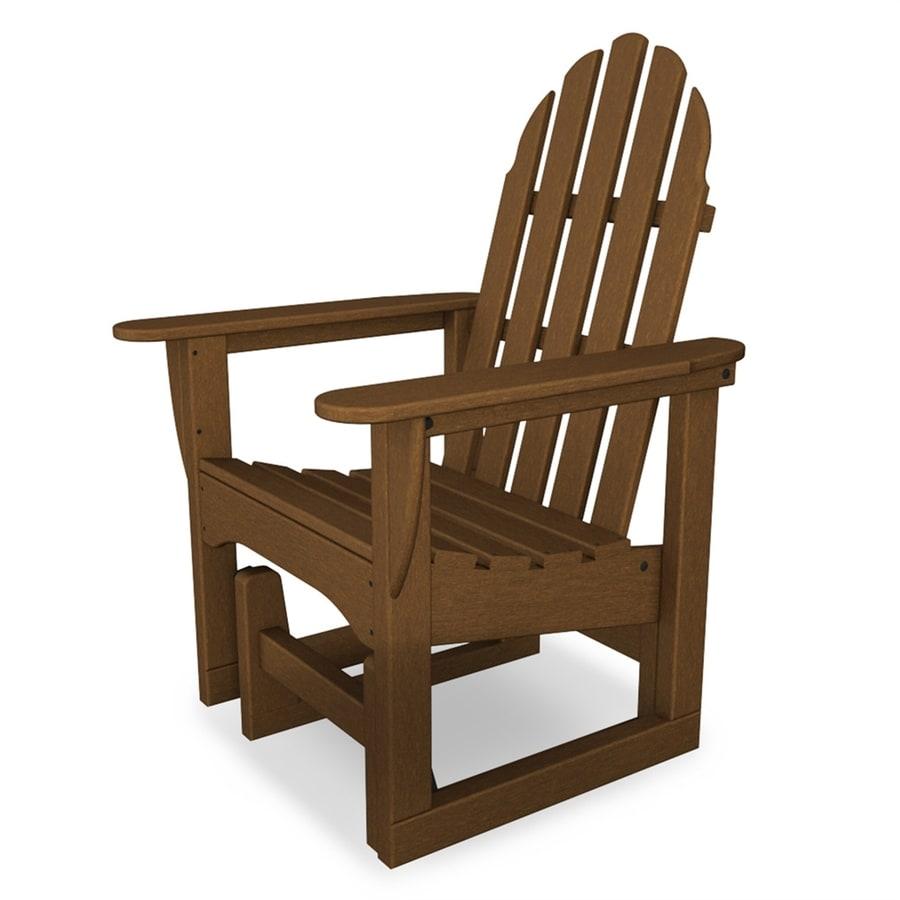 POLYWOOD Classic Adirondack Teak Finish Plastic Adirondack Chair
