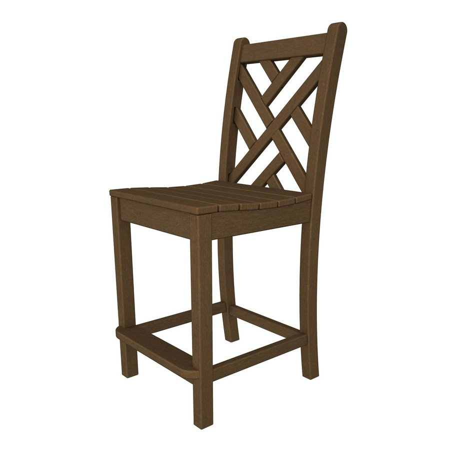 POLYWOOD Chippendale Teak Plastic Patio Barstool Chair