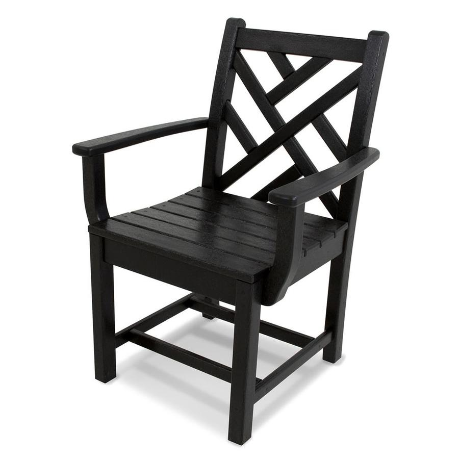 POLYWOOD Chippendale Black Plastic Patio Dining Chair