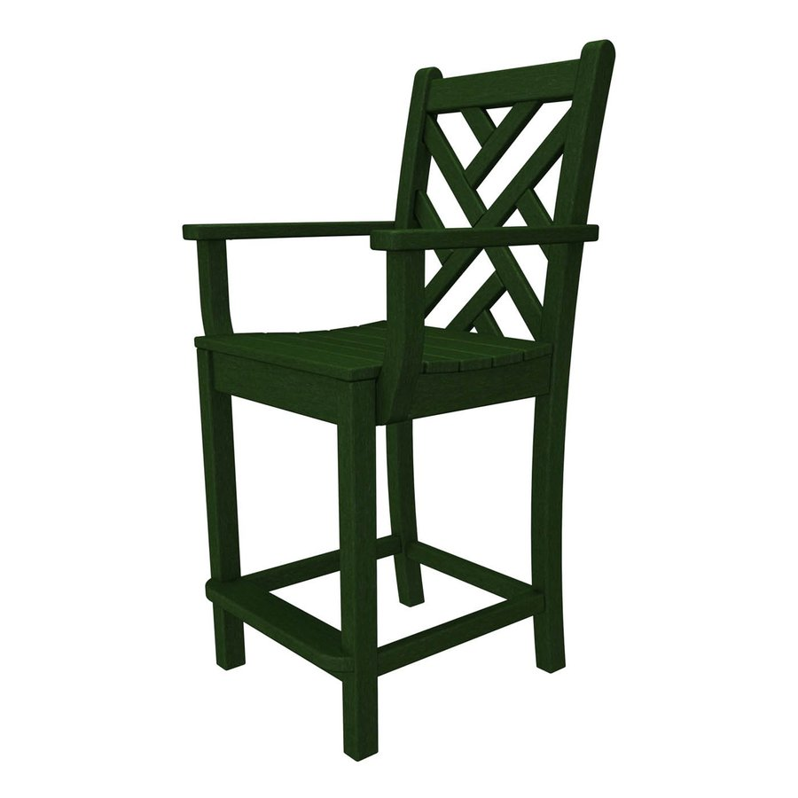 POLYWOOD Chippendale Green Plastic Patio Barstool Chair