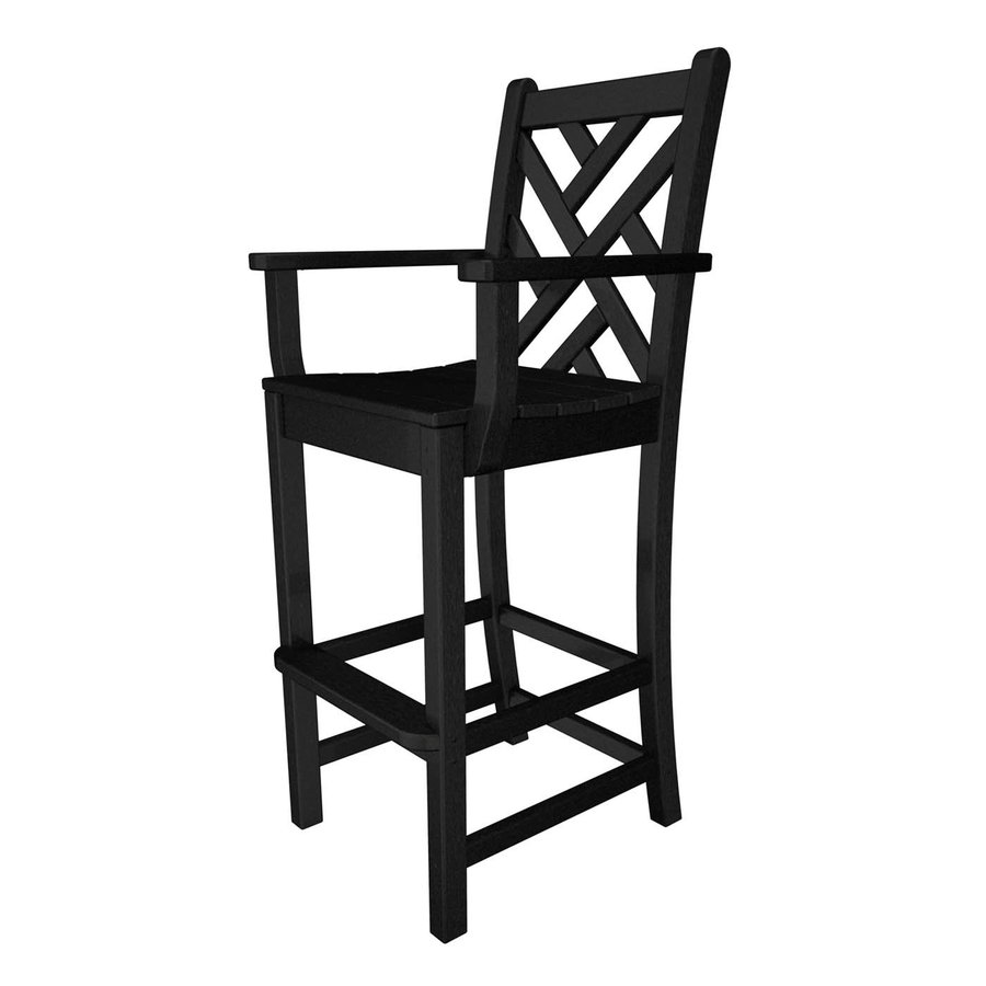 POLYWOOD Chippendale Black Plastic Patio Barstool Chair