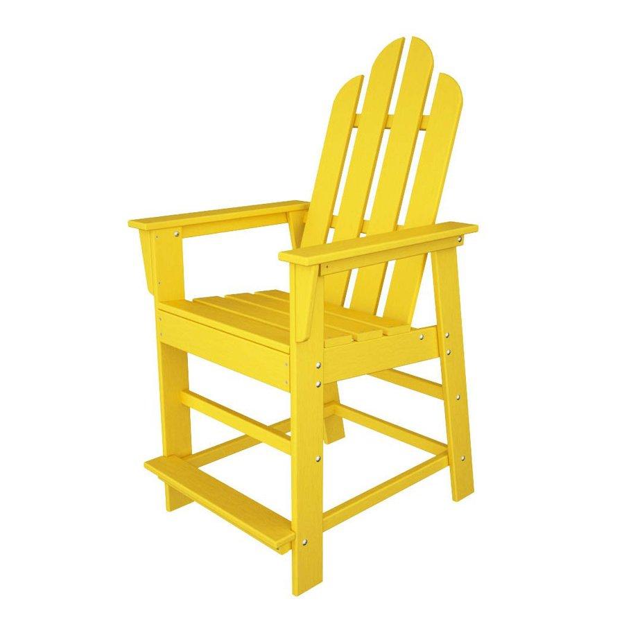 POLYWOOD Long Island Lemon Plastic Patio Barstool Chair