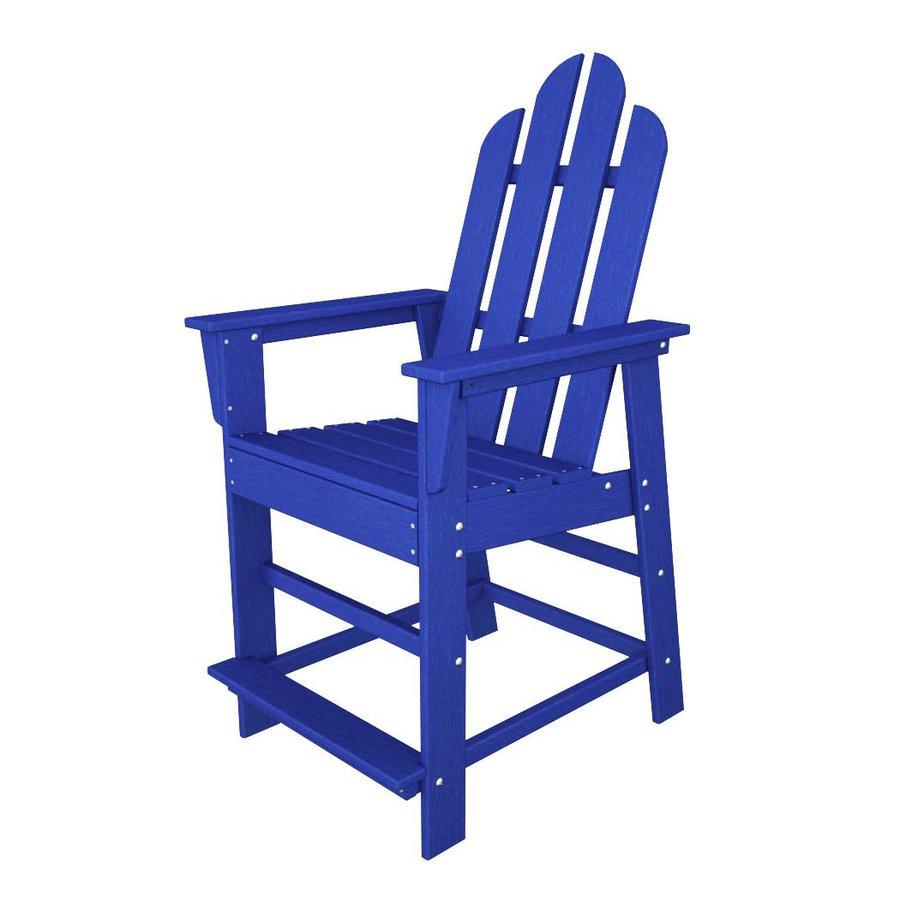 POLYWOOD Long Island Pacific Blue Plastic Patio Barstool Chair