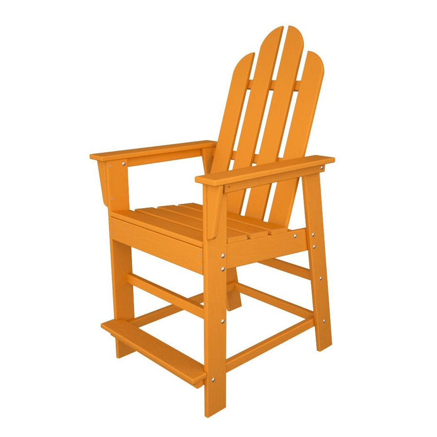 POLYWOOD Long Island Tangerine Plastic Patio Barstool Chair