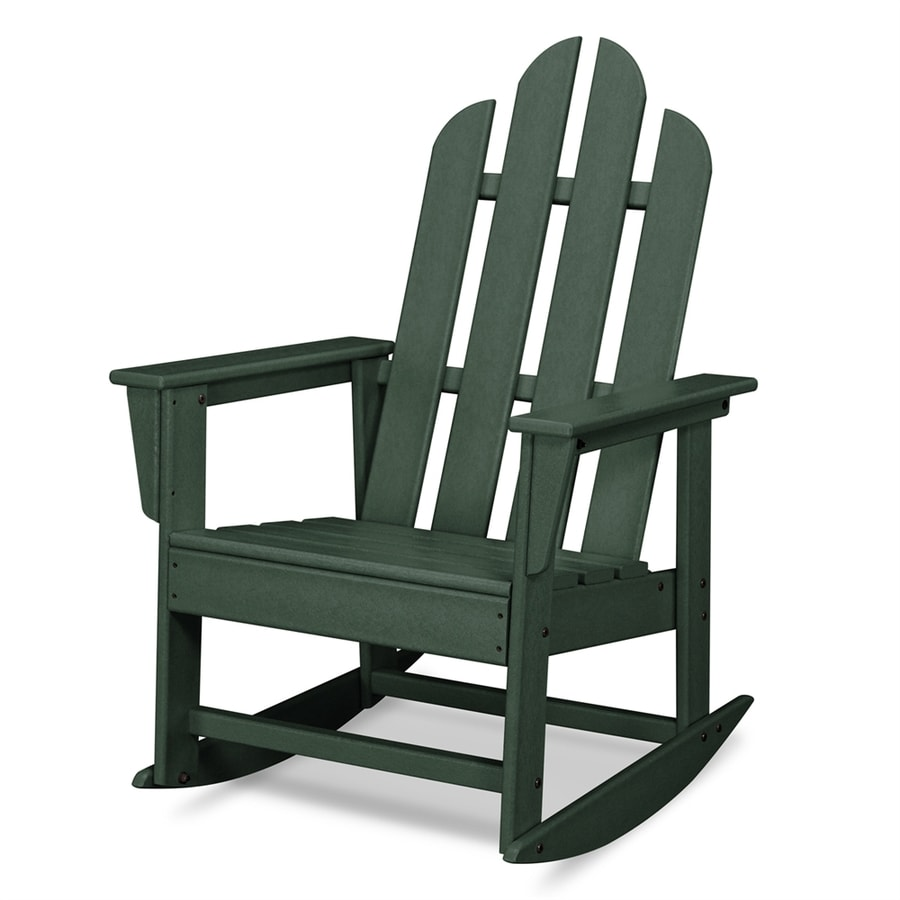 shop polywood long island green plastic rocking chair at