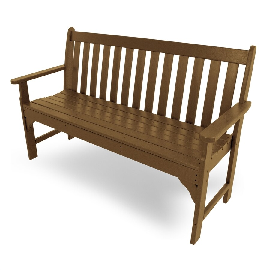 Shop Polywood Vineyard 24 In W X 60 5 In L Teak Plastic Patio Bench At