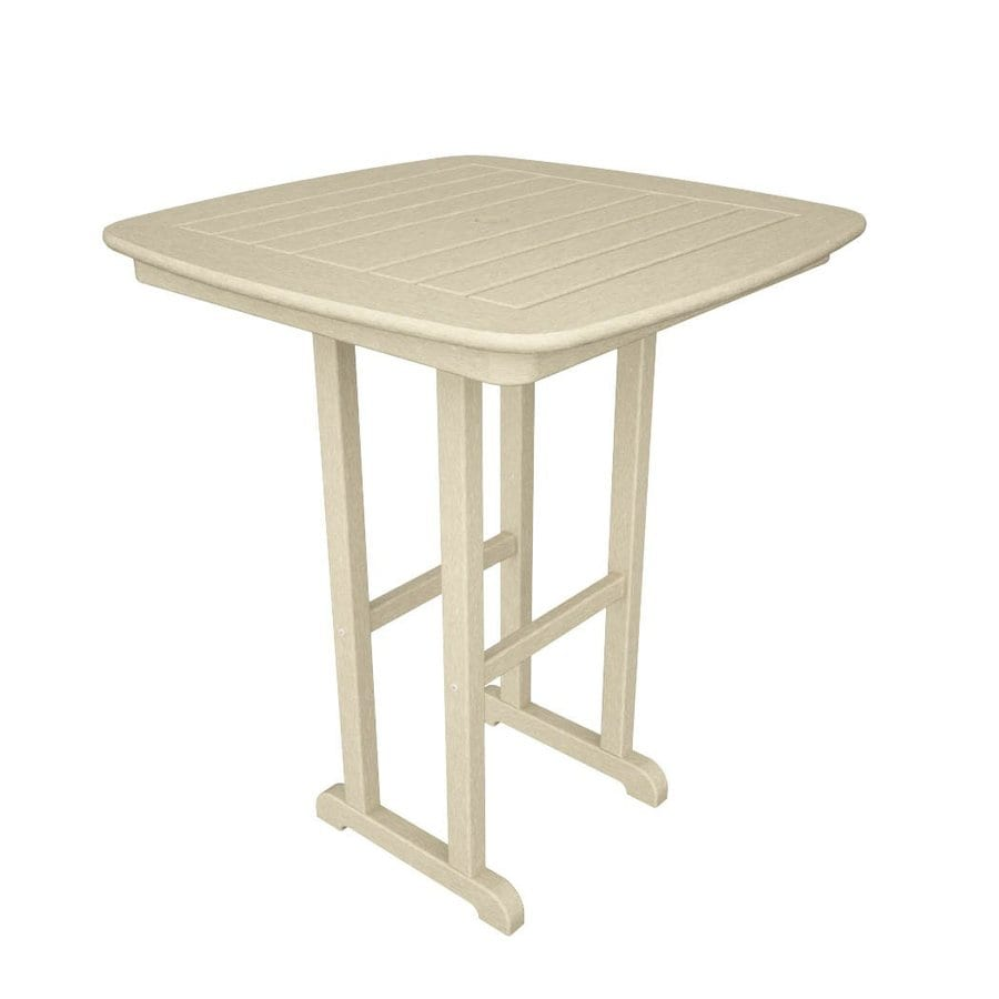 POLYWOOD Nautical 31-in W x 31-in L Square Plastic Bar Table