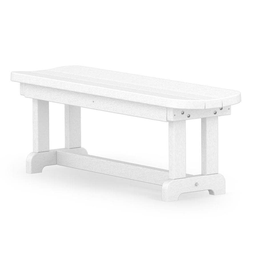 POLYWOOD Park 14.5-in W x 48-in L White Plastic Patio Bench