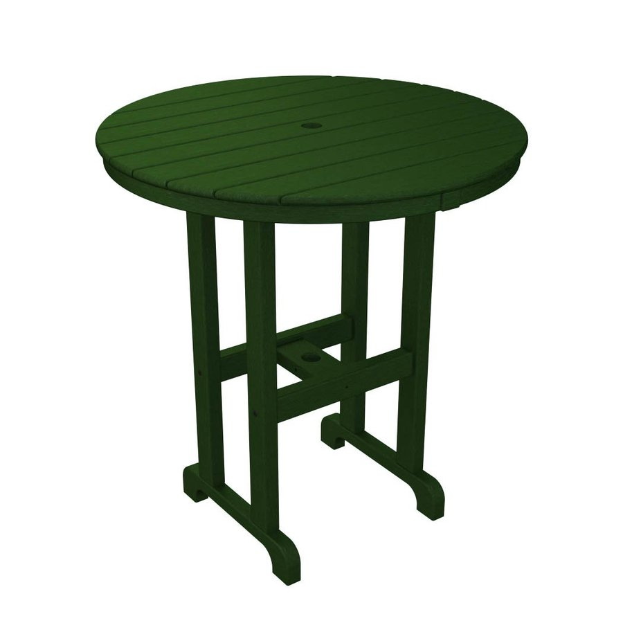 POLYWOOD La Casa Cafe 35.12-in W x 35.12-in L Round Plastic Bar Table