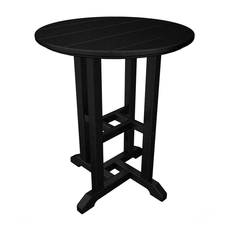 POLYWOOD 24-in W x 24-in L Round Plastic Dining Table