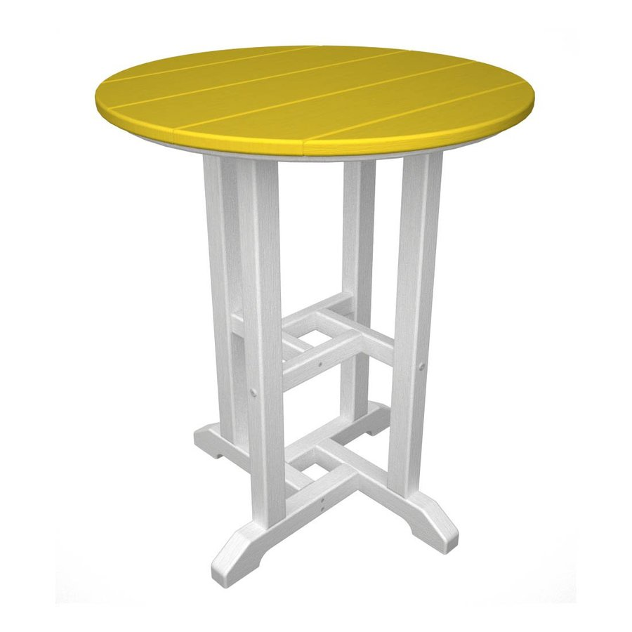 POLYWOOD Contempo 24-in W x 24-in L Round Plastic Dining Table