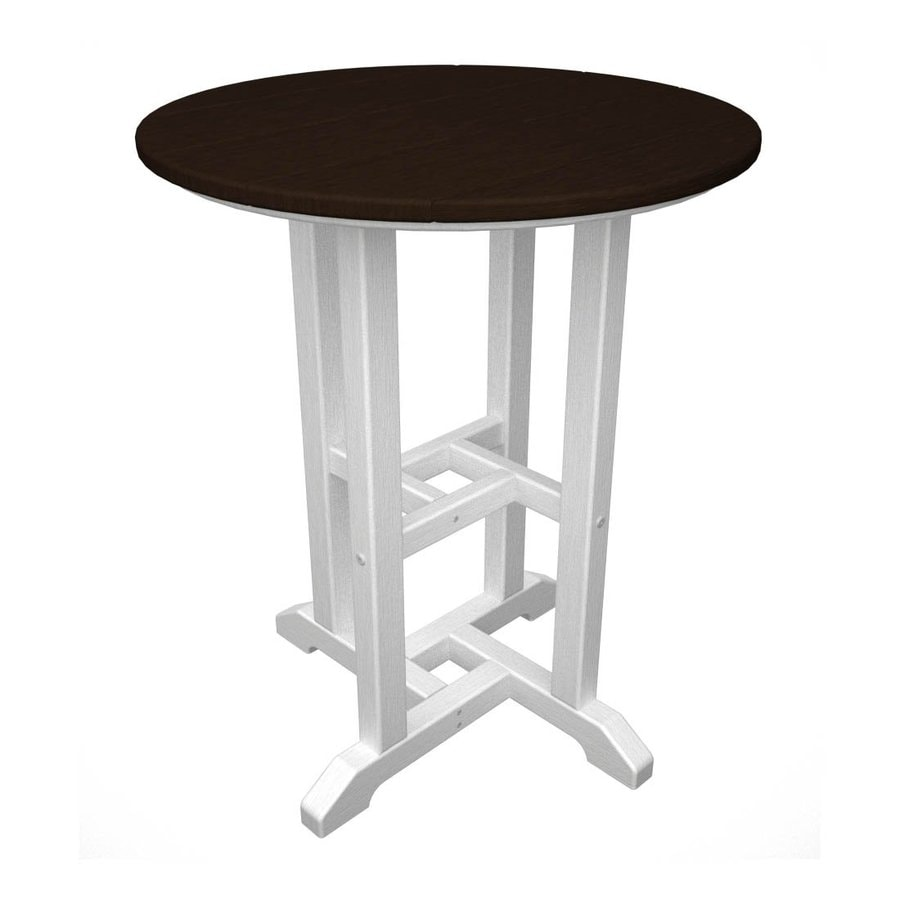 Shop POLYWOOD Recycled Plastic Top White Mahogany Round