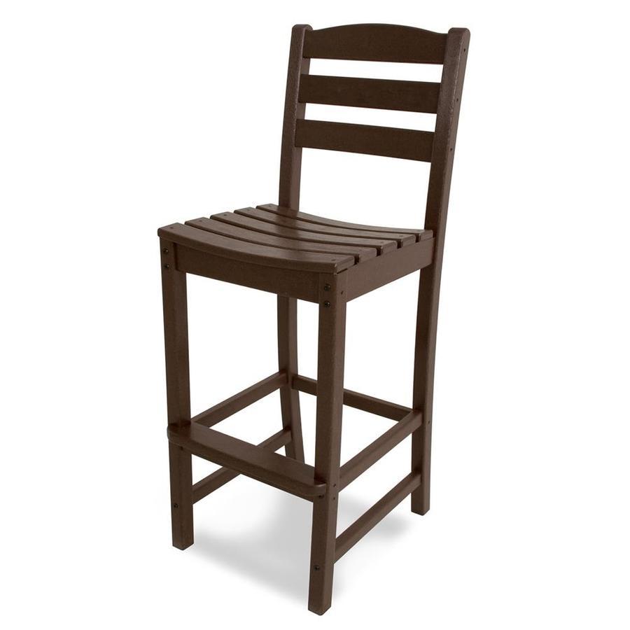 POLYWOOD La Casa Cafe Mahogany Plastic Patio Barstool Chair