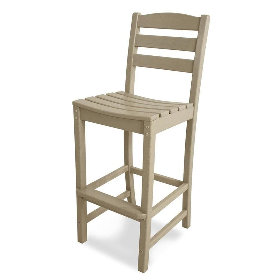 POLYWOOD La Casa Cafe Sand Plastic Patio Barstool Chair