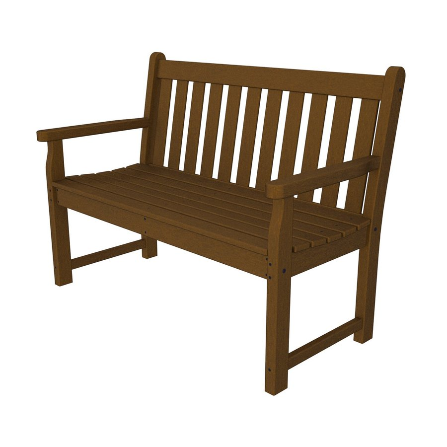 POLYWOOD Traditional Garden 24.25-in W x 47.5-in L Teak Plastic Patio Bench