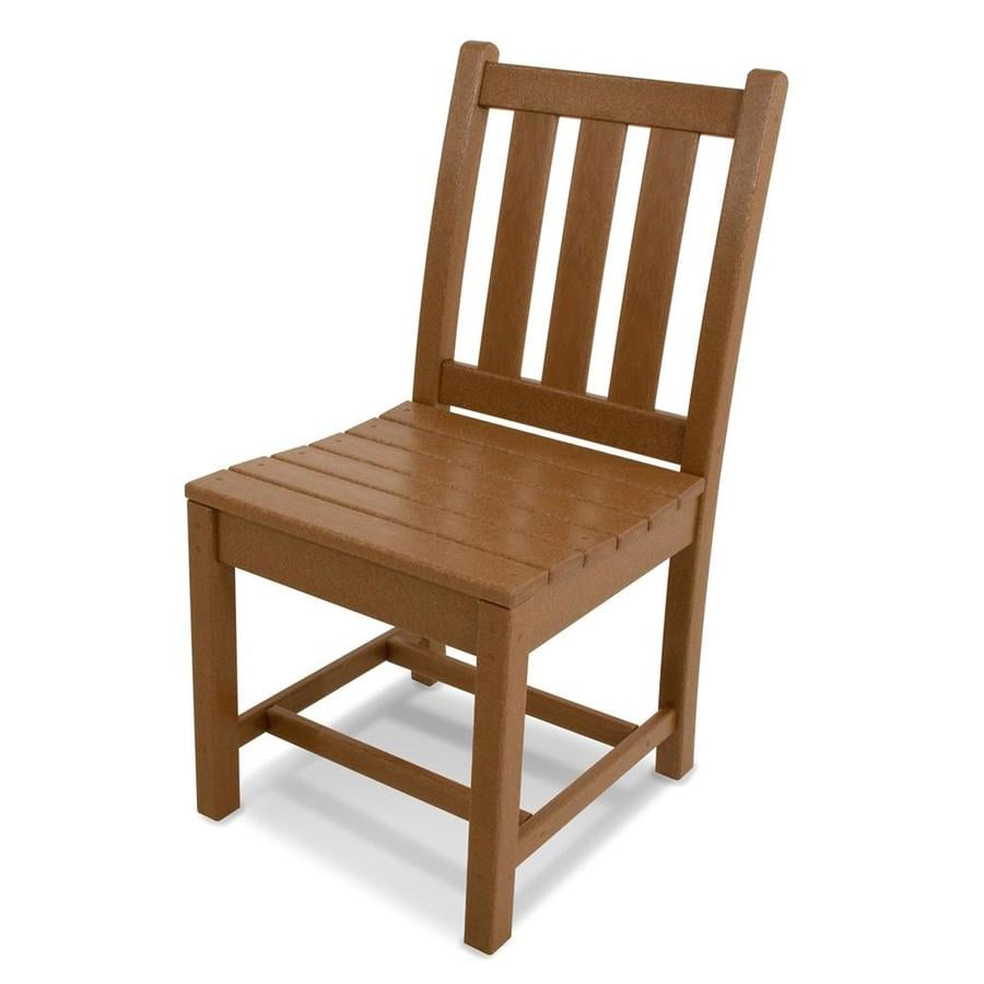 POLYWOOD Traditional Garden 2-Count Teak Finish Plastic Dining Chair