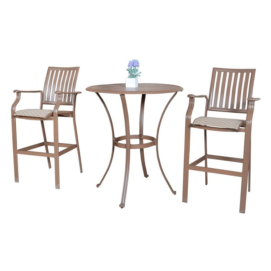 Hospitality Rattan Panama Jack 3-Piece Aluminum Bar Patio Dining Set