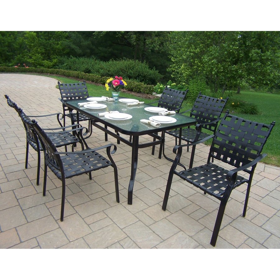 Oakland Living Web 7-Piece Glass Dining Patio Dining Set