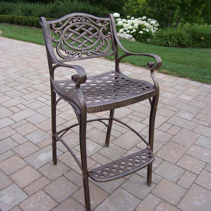 Oakland Living Mississippi Antique Bronze Aluminum Patio Barstool Chair