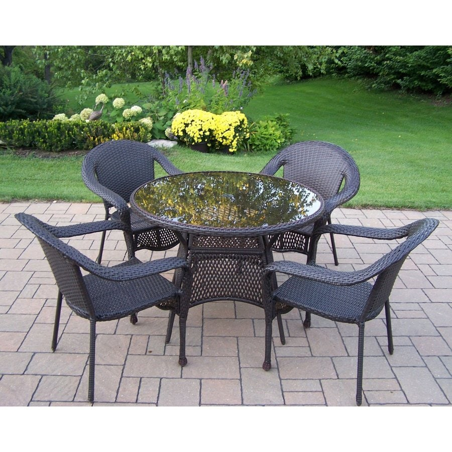 Shop oakland living elite resin wicker 5 piece dining for Outdoor patio dining