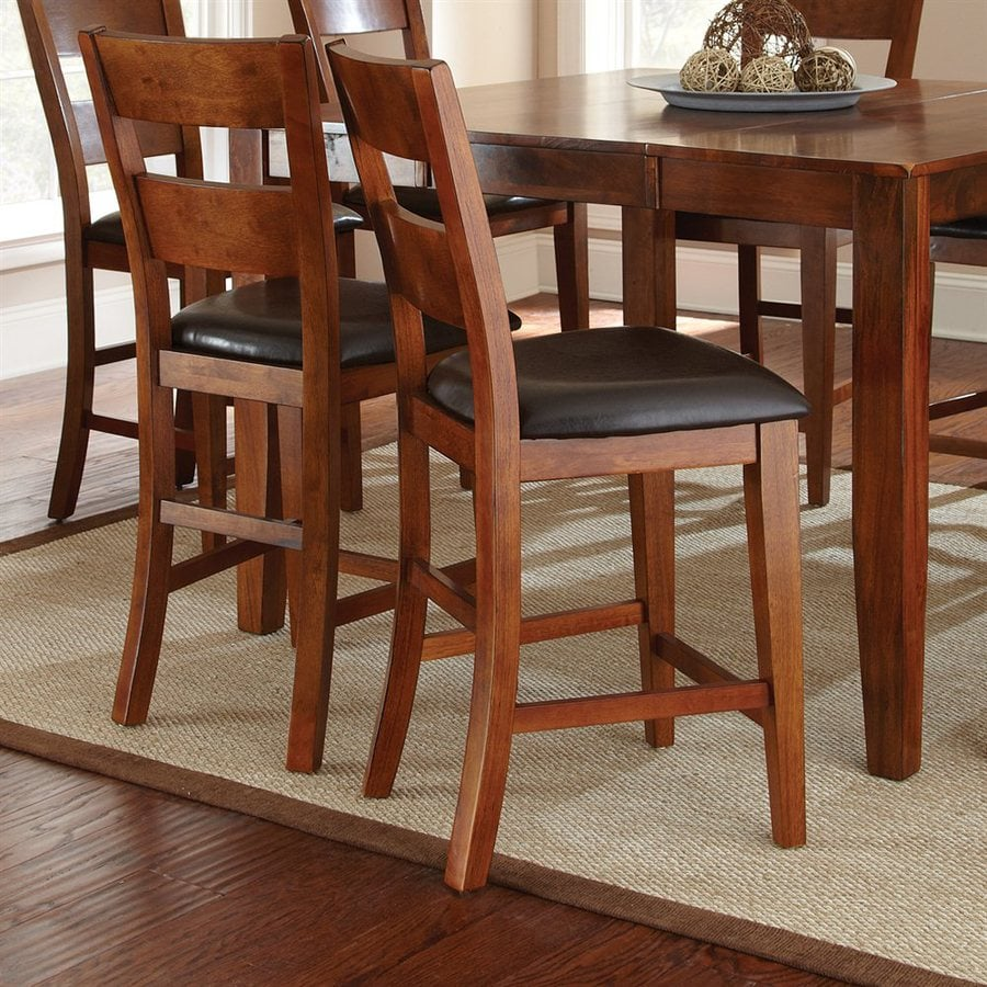 Steve Silver Company Set of 2 Mango Burnished Medium Brown Cherry 24-in Counter Stools