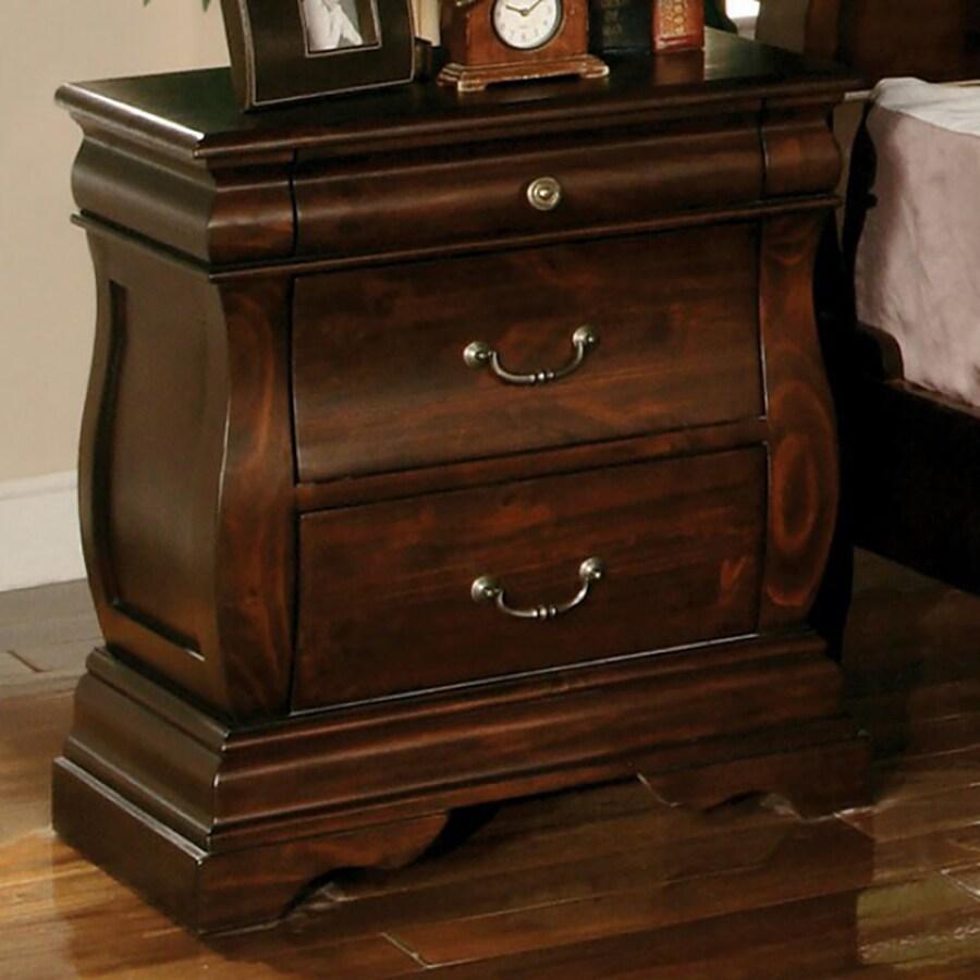 Furniture of America Brunswick Dark Walnut Birch Nightstand
