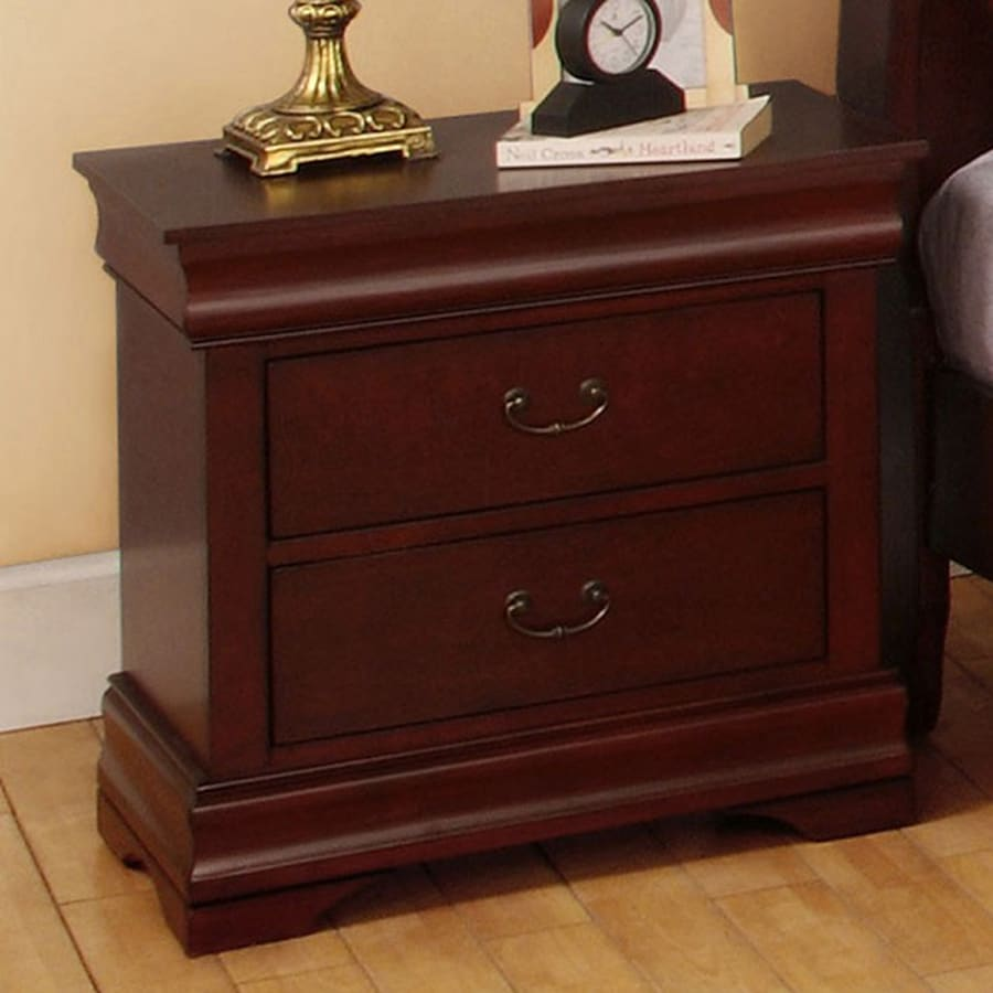 Shop furniture of america laurelle dark cherry birch for Cheap bed stands