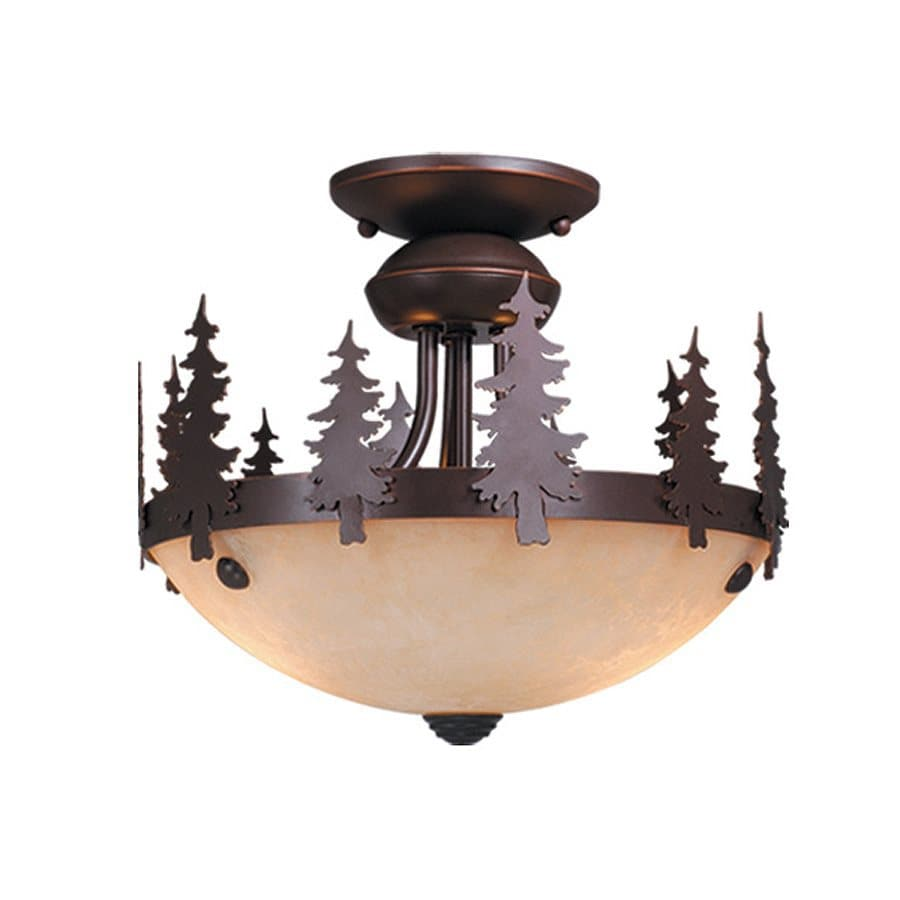 Cascadia Lighting Yosemite 11.5-in W Burnished Bronze Frosted Glass Semi-Flush Mount Light