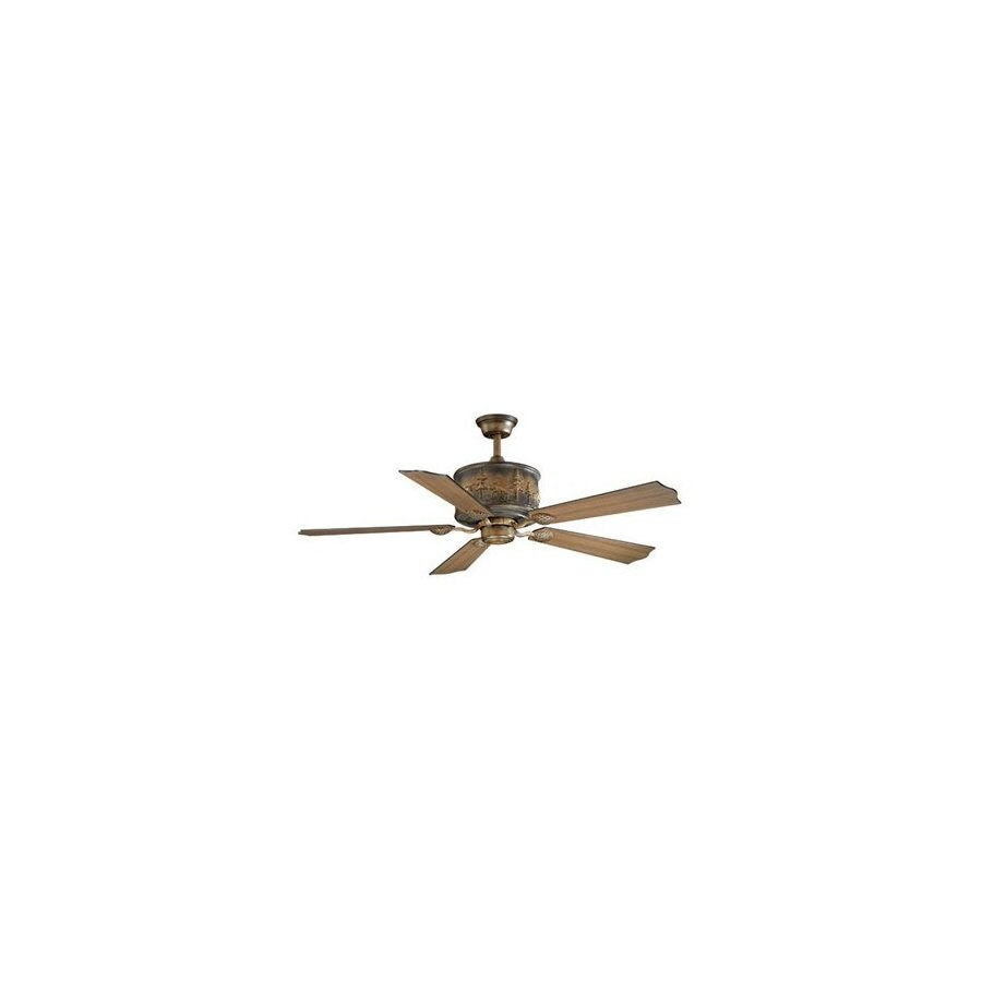 Cascadia Lighting 56-in Yellowstone Aged Walnut Ceiling Fan with Remote