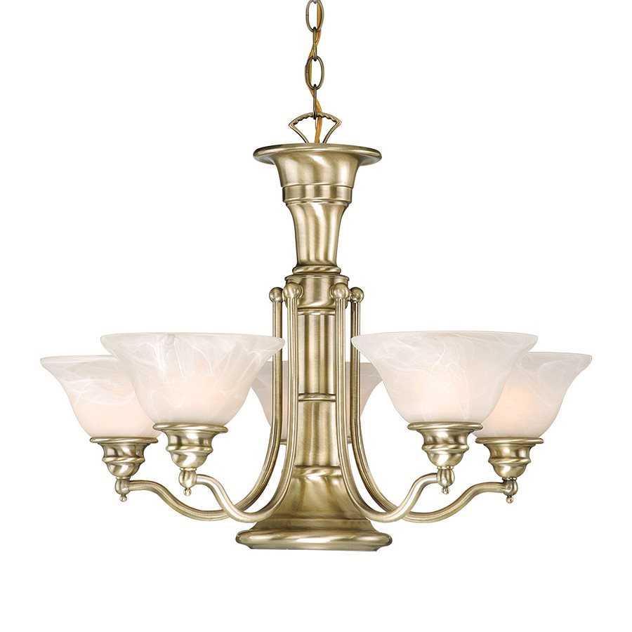 Cascadia Lighting Standford 25-in 6-Light Antique Brass Alabaster Glass Shaded Chandelier