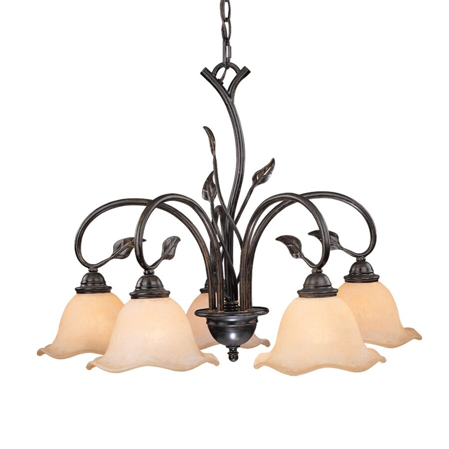 Cascadia Lighting Vine 25-in 5-Light Oil Shale Rustic Tinted Glass Shaded Chandelier